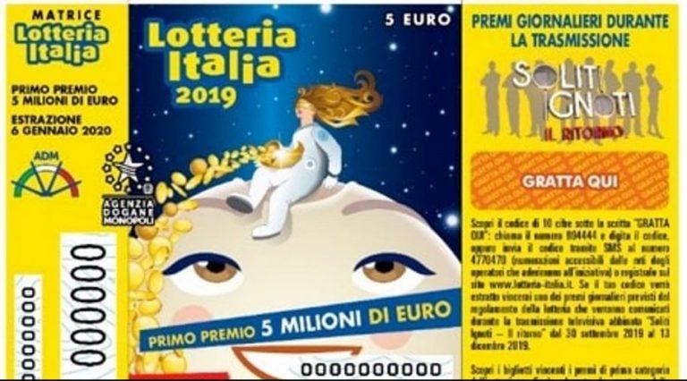 LOTTERIA ITALIA, VINTO A TORINO IL 1^ PREMIO DA 5 MLN