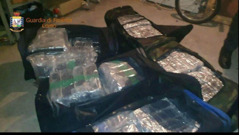 Sequestrati oltre 200 kg di droga nel Comasco, arrestato un 45enne