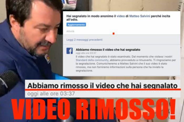 Salvini al citofono, Facebook rimuove il video