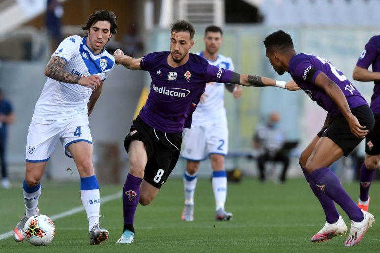 Pezzella risponde al rigore di Donnarumma, Fiorentina-Brescia 1-1