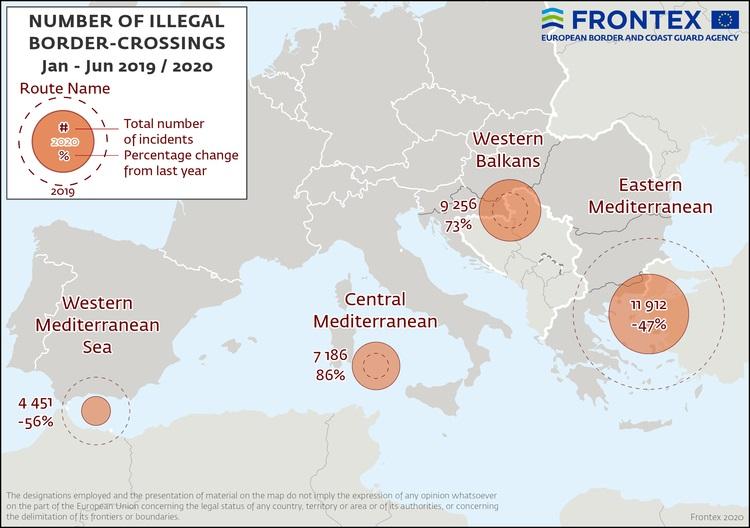 Migranti, a giugno più arrivi da Balcani e Mediterraneo occidentale